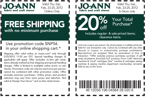 two new coupons for jo ann fabric and crafts store and