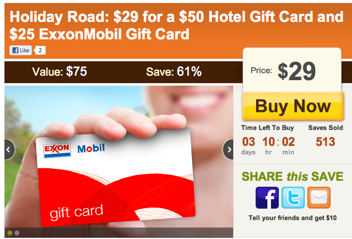 Pay only $29 for $50 Hotel Gift Card and $25 Exxon Mobil