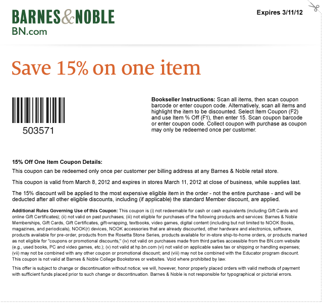picture regarding Barnes and Noble Printable Coupon identified as Barnes and Noble Printable Coupon : 15% off a person products