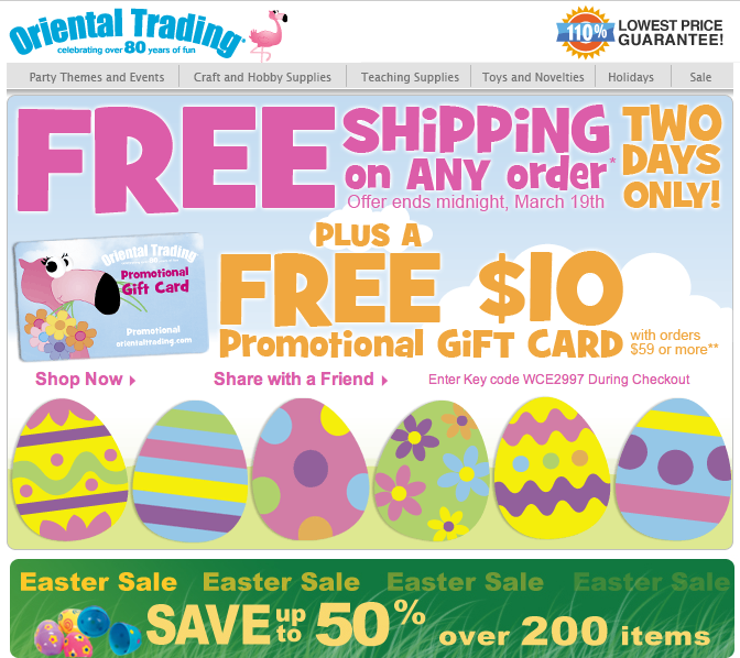 Oriental Trading Company issue many great coupon codes for upcoming seasonal party supplies such as save 70% off graduation party supplies. Oriental Trading Company has coupons for free shipping with a minimum amount. How to Save at Oriental Trading Company Oriental Trading Company offers deals for upcoming holiday events year round with savings of up to 75% off%().