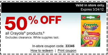 picture regarding Crayola Coupons Printable named Staples Printable Discount coupons: 50% off Crayola Goods Moreover