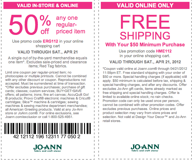 Joann Fabrics In-store Coupons or Online Coupon Code
